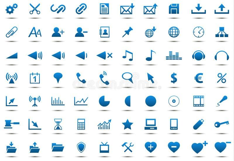 Grupo de ícones azuis ilustração stock