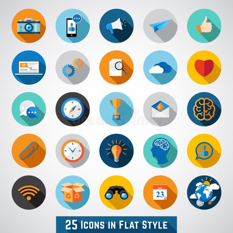 Grupo de ícones básicos no projeto liso ilustração royalty free