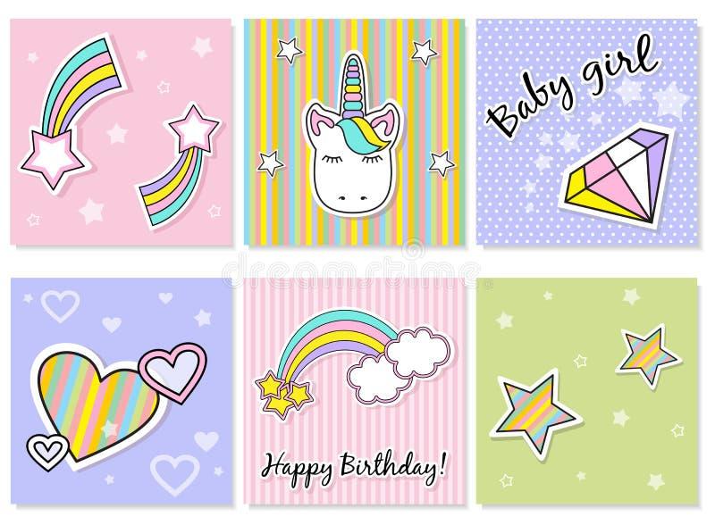 Grupo de ícones bonitos do unicórnio, de arco-íris e de estrelas, ilustração do vetor da criança, projeto dos desenhos animados ilustração stock