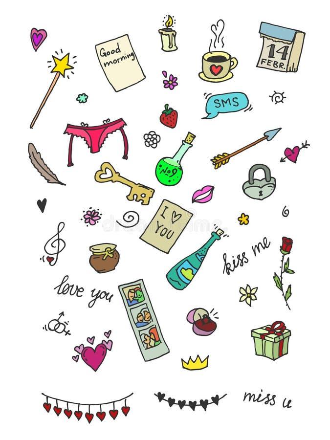 Grupo de ícones bonitos para o dia de são valentim ilustração stock