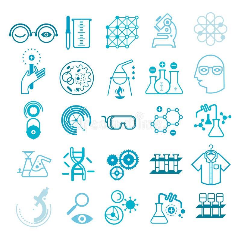 Grupo de ícones científicos ilustração do vetor