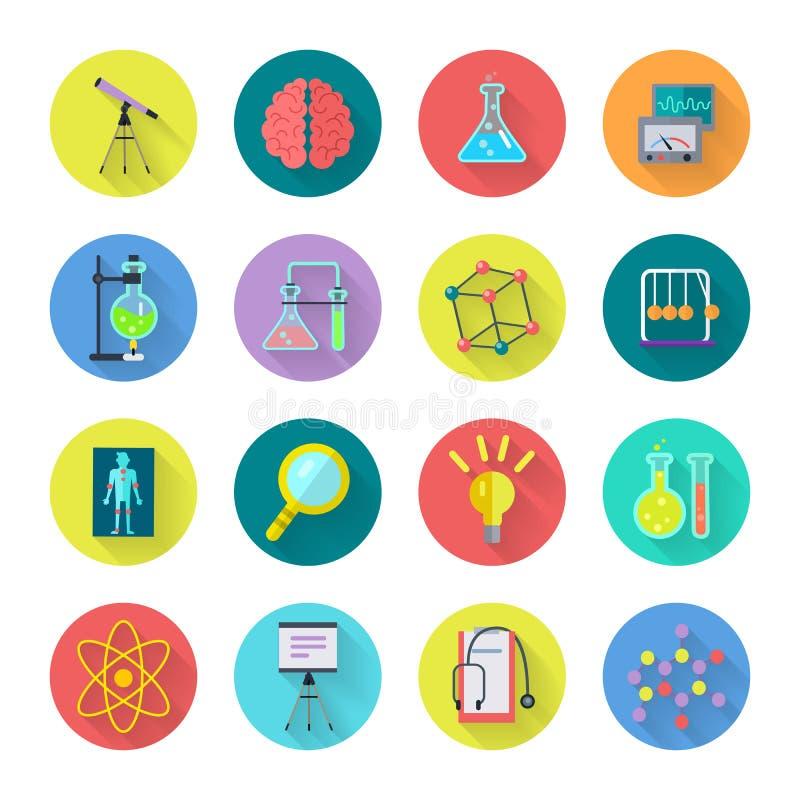 Grupo de ícones científicos do vetor no projeto liso ilustração royalty free