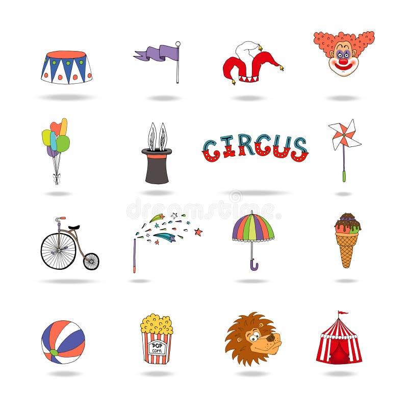 Grupo de ícones coloridos do circo do vetor ilustração do vetor