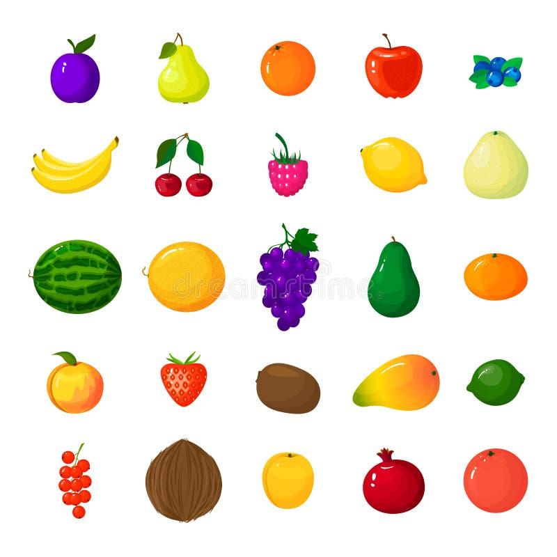 Grupo de ícones coloridos do fruto dos desenhos animados Bagas e frutos da ilustração do vetor no estilo dos desenhos animados Íc ilustração stock
