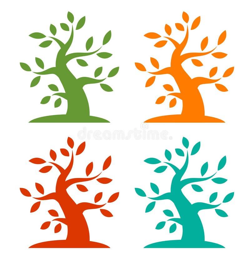 Grupo de ícones corajosos da árvore colorida da estação ilustração royalty free