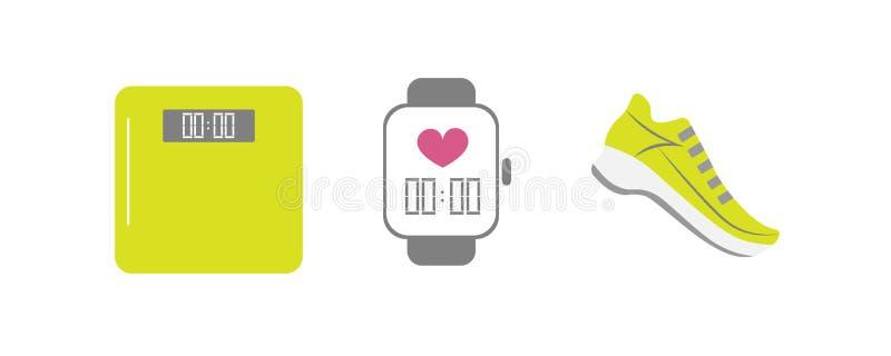 Grupo de ícones de corrida do esporte - tênis de corrida do vetor, relógio esperto, pese a escala - para a equipe de esporte, clu ilustração royalty free