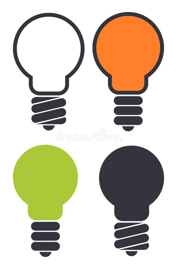 Grupo de ícones da ampola isolados no fundo branco Bulbo de Eco ilustração royalty free