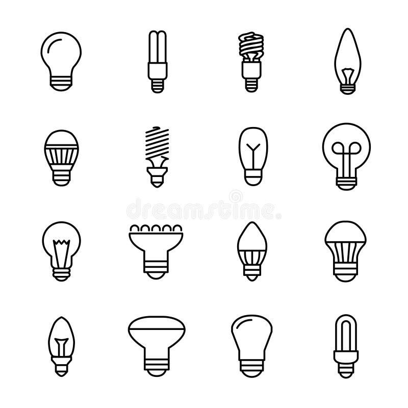 Grupo de ícones da ampola na linha estilo fina moderna ilustração do vetor