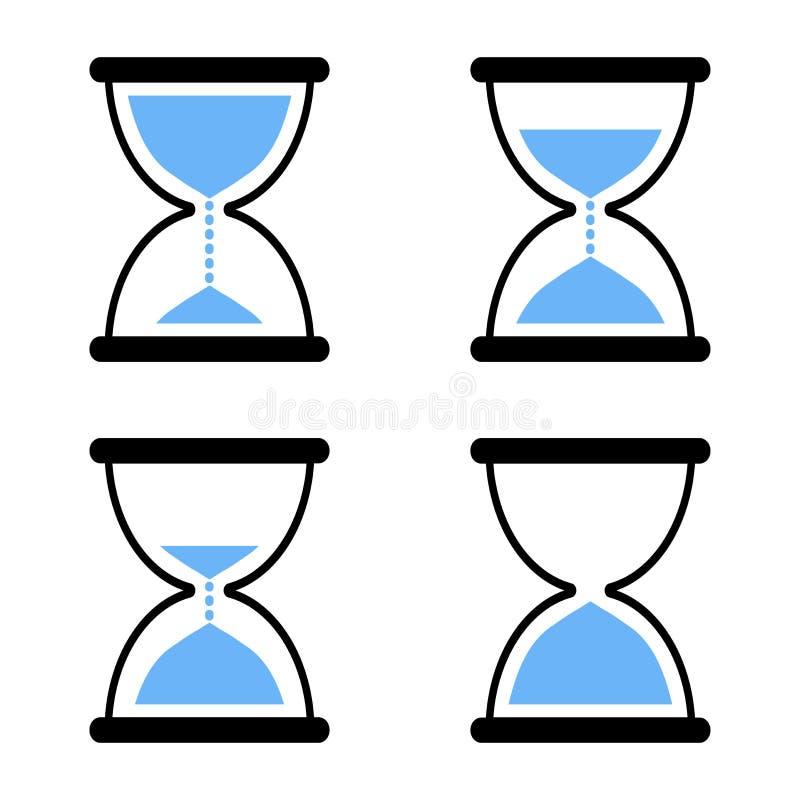 Grupo de ícones da ampulheta Ilustração do vetor ilustração stock