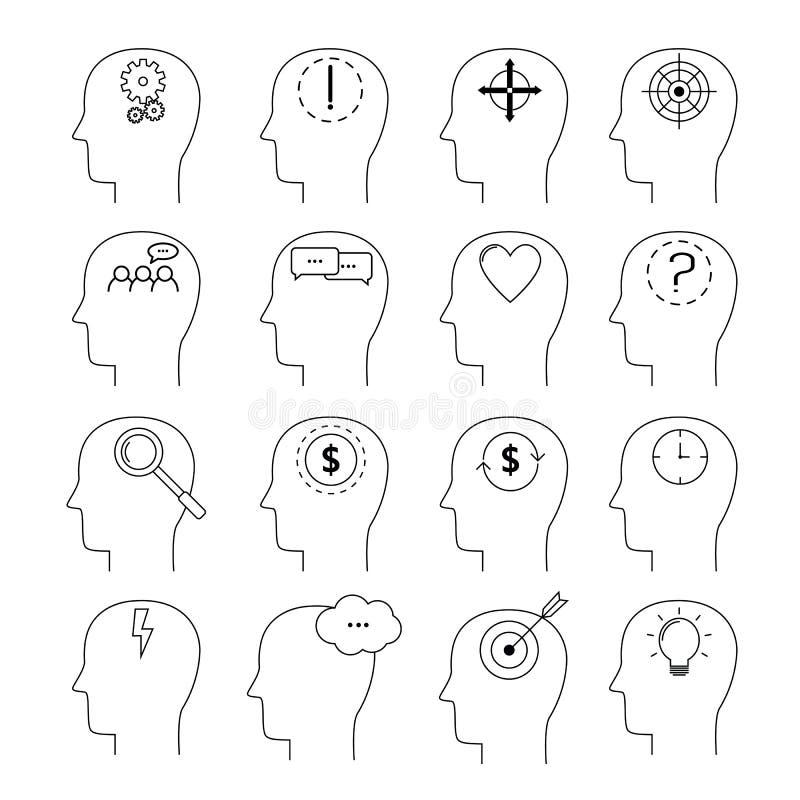 Grupo de ícones da atividade de cérebro, linha estilo fina, projeto liso ilustração royalty free