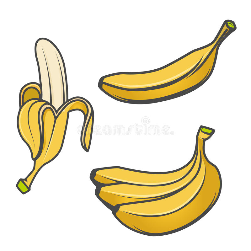Grupo de ícones da banana isolados no fundo branco Elemento do projeto ilustração do vetor