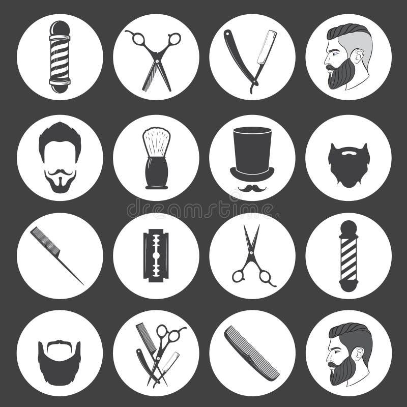 Grupo de ícones da barbearia do vintage ilustração royalty free