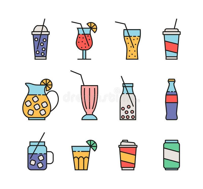 Grupo de ícones da bebida ilustração royalty free