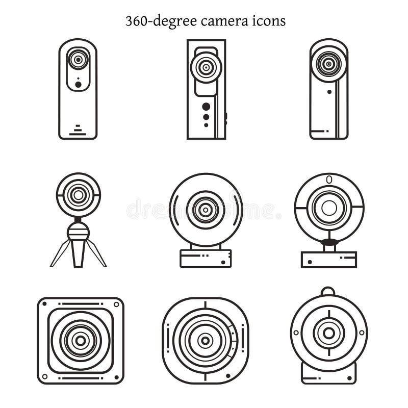 Grupo de ícones da câmera de 360 graus na linha fina projeto imagens de stock