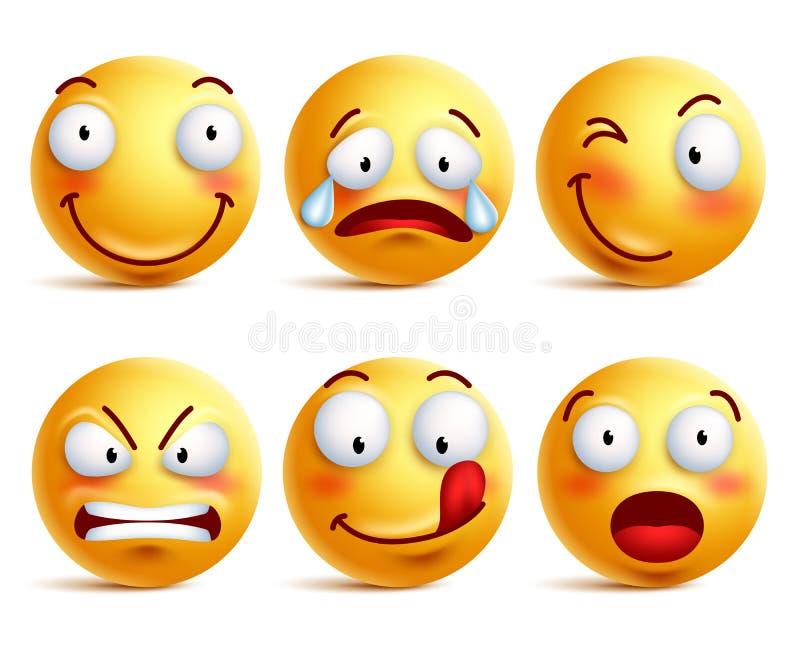 Grupo de ícones da cara do smiley ou de emoticons amarelos com expressões faciais diferentes ilustração do vetor
