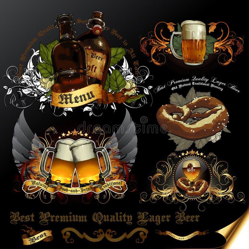 Grupo de ícones da cerveja ilustração do vetor