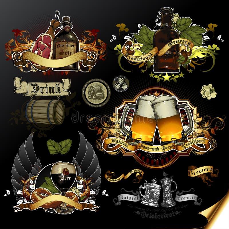 Grupo de ícones da cerveja ilustração royalty free
