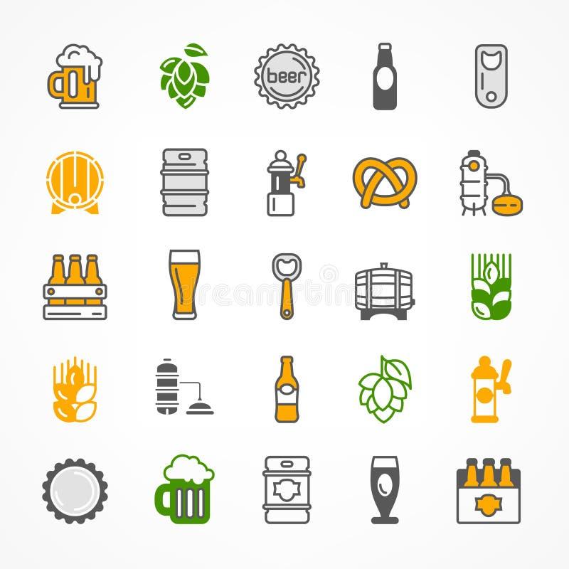 Grupo de ícones da cerveja da cor ilustração do vetor