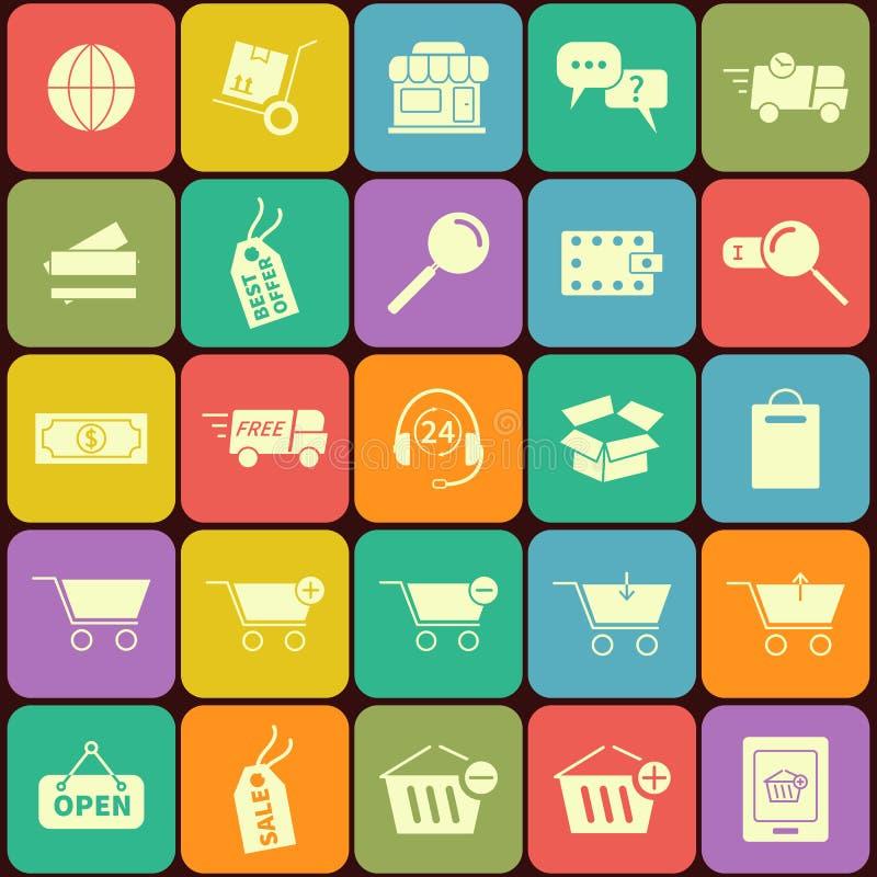 Grupo de ícones da compra no projeto liso Em ilustração stock