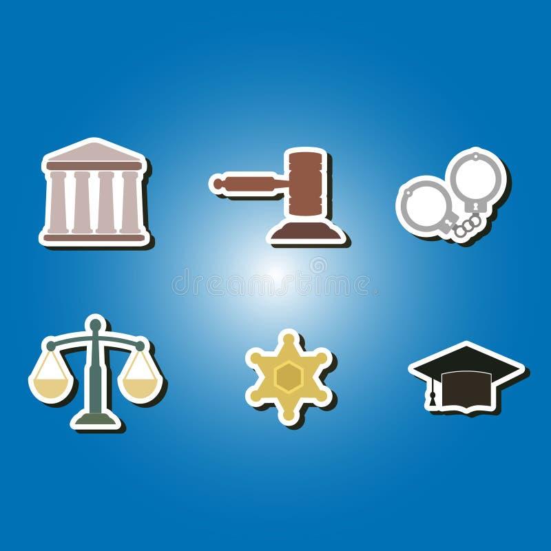 Grupo de ícones da cor com símbolos da lei e das cortes ilustração stock