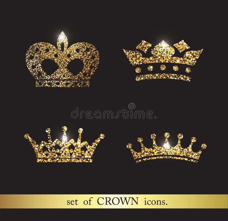 Grupo de ícones da coroa do ouro ilustração do vetor
