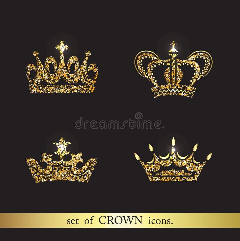 Grupo de ícones da coroa do ouro do vetor ilustração do vetor