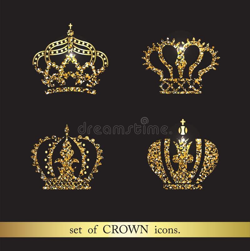 Grupo de ícones da coroa do ouro do vetor ilustração royalty free