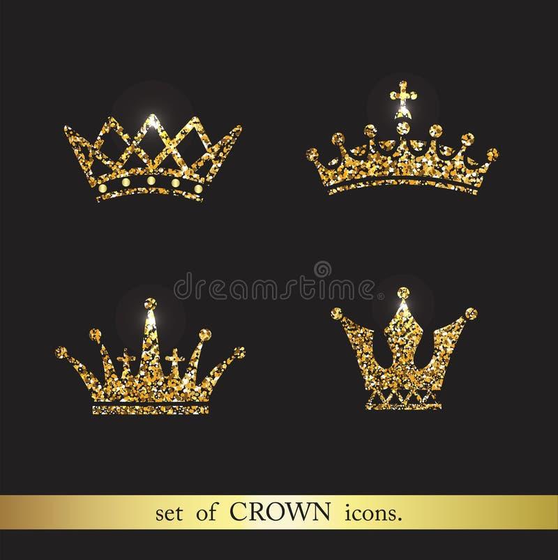 Grupo de ícones da coroa do ouro do vetor ilustração stock