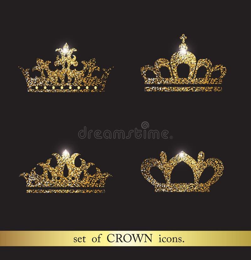 Grupo de ícones da coroa do vetor ilustração royalty free