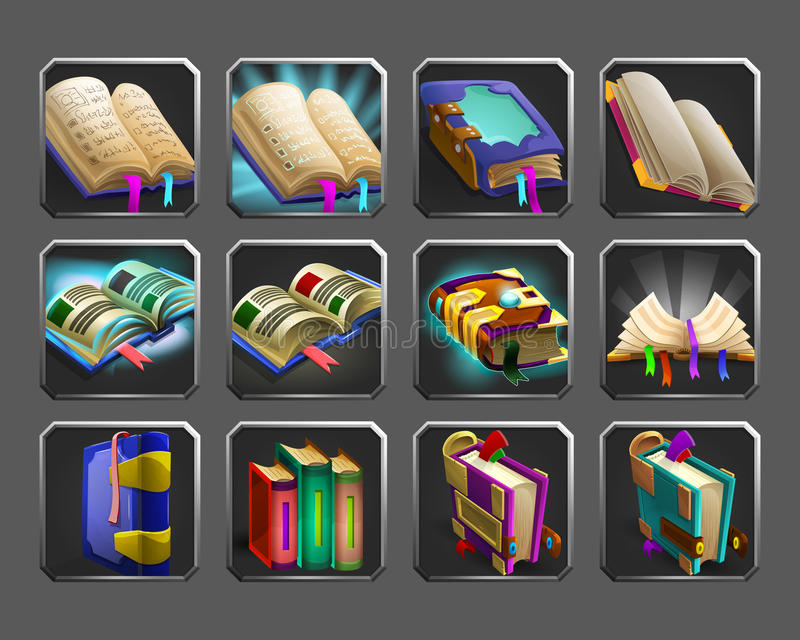 Grupo de ícones da decoração para jogos Coleção de livros mágicos ilustração royalty free