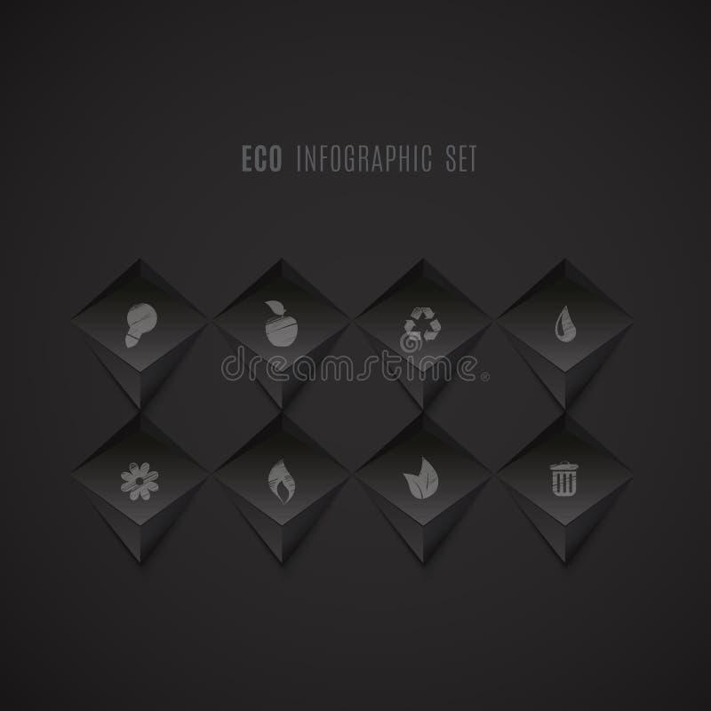 Grupo de ícones da ecologia no fundo abstrato escuro ilustração royalty free