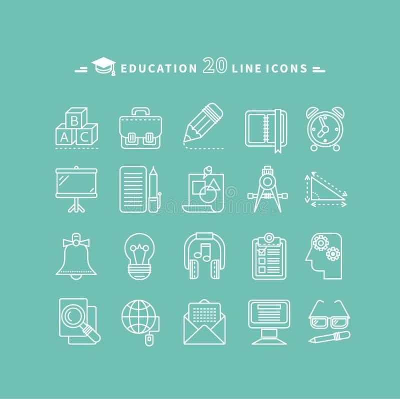 Grupo de ícones da educação do esboço ilustração royalty free