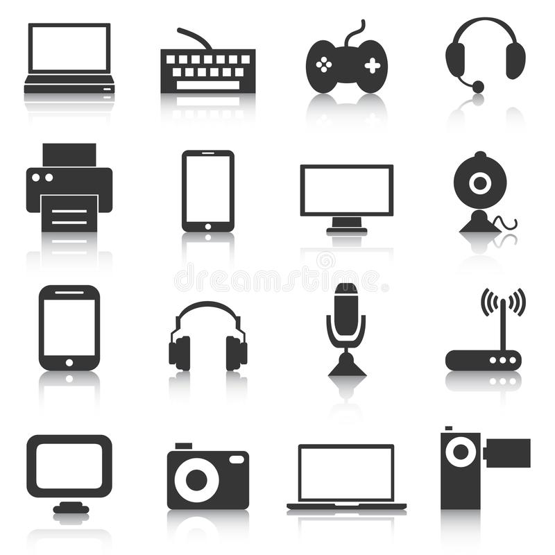 Grupo de ícones da eletrônica, dispositivos, tecnologia Ilustração do vetor ilustração stock
