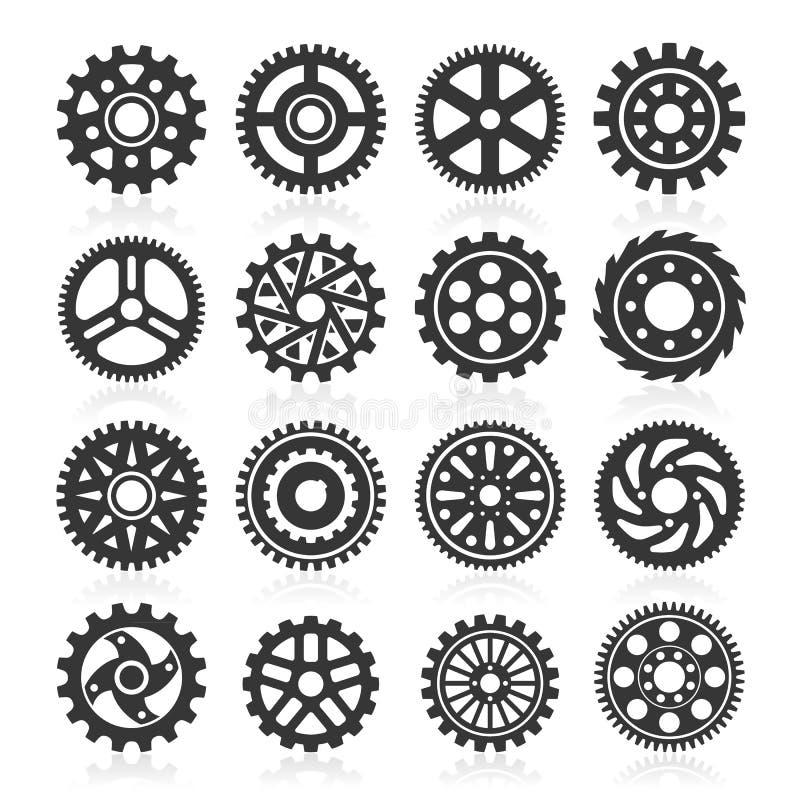 Grupo de ícones da engrenagem. ilustração do vetor