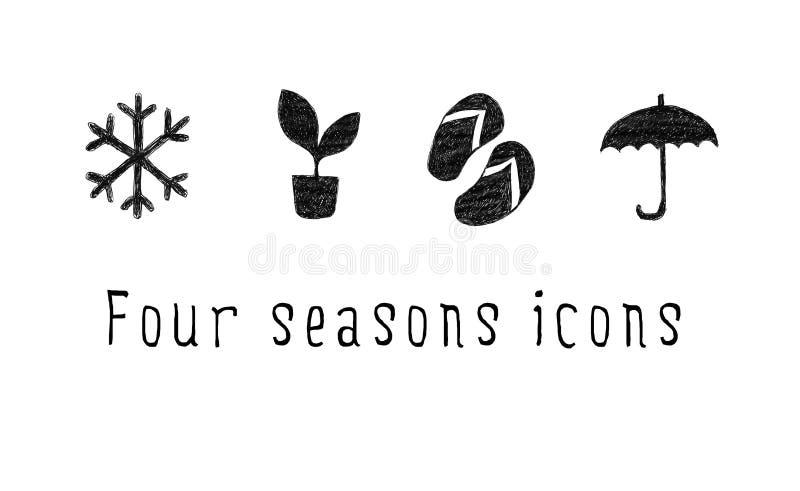 Grupo de ícones da estação Desenho da mão Inverno, mola, verão, outono ilustração do vetor