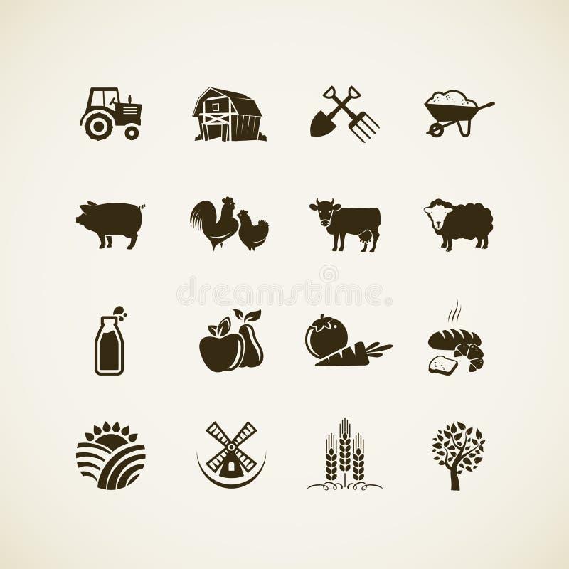 Grupo de ícones da exploração agrícola ilustração royalty free
