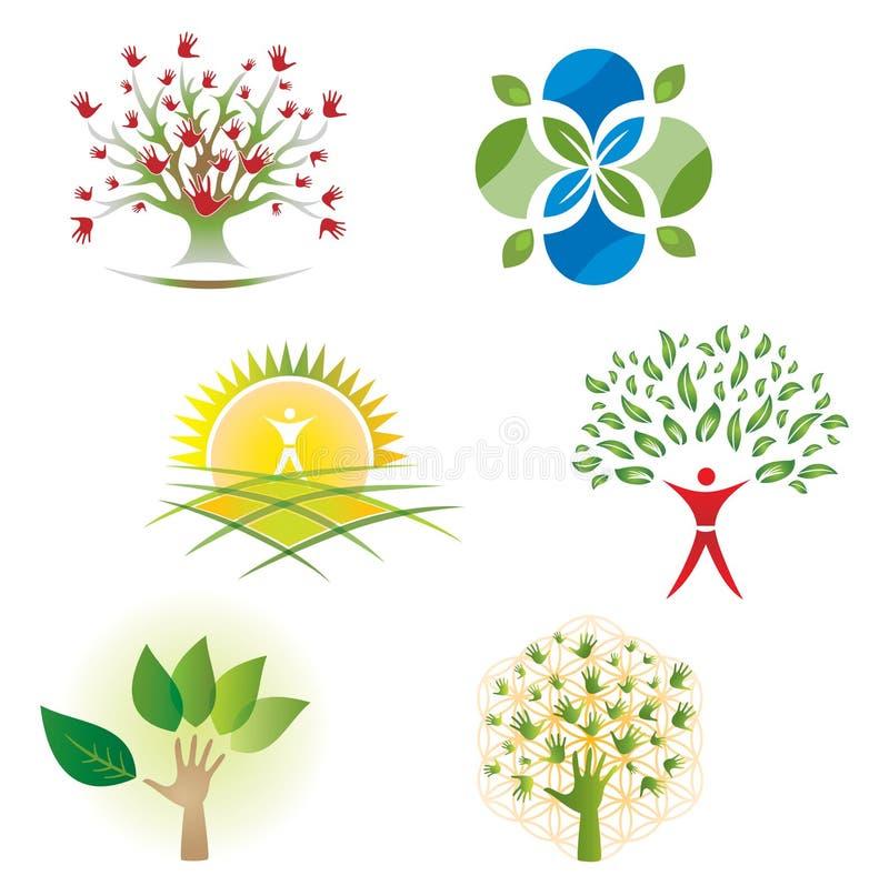 Grupo de ícones da folha da natureza da árvore para Logo Design ilustração stock