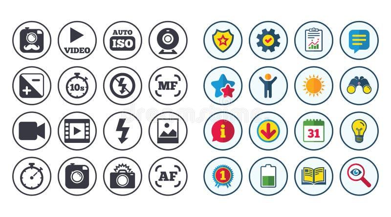 Grupo de ícones da foto e do vídeo Sinal da câmera ilustração stock