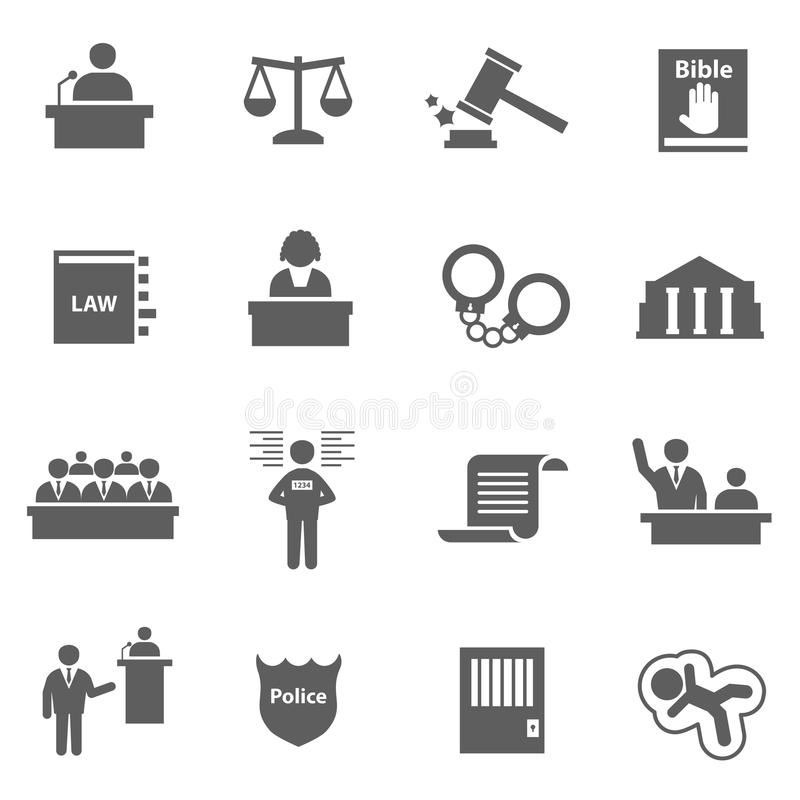 Grupo de ícones da lei ilustração royalty free