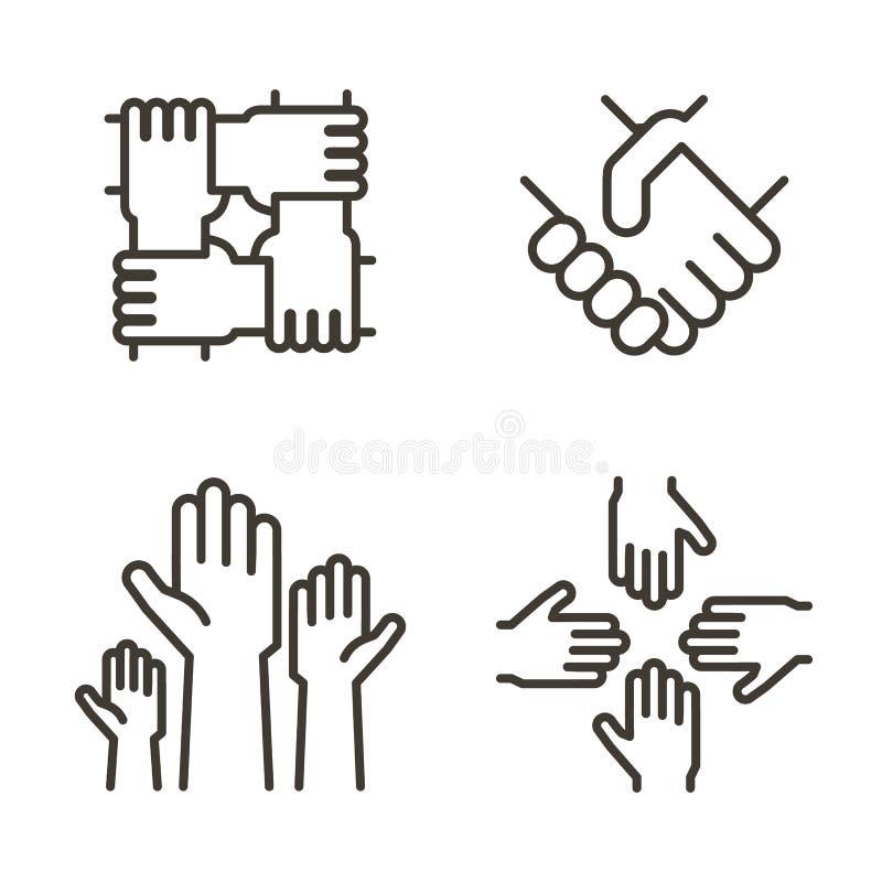 Grupo de ícones da mão que representam a parceria, a comunidade, a caridade, os trabalhos de equipa, o negócio, a amizade e a cel ilustração royalty free