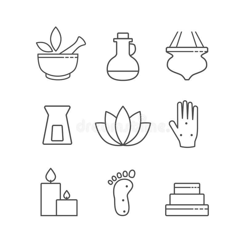 Grupo de ícones da medicina alternativa e dos termas do esboço linear, vetor ilustração stock