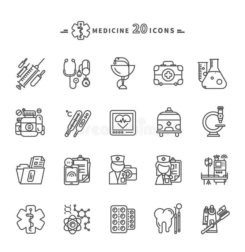 Grupo de ícones da medicina do esboço no fundo branco ilustração royalty free
