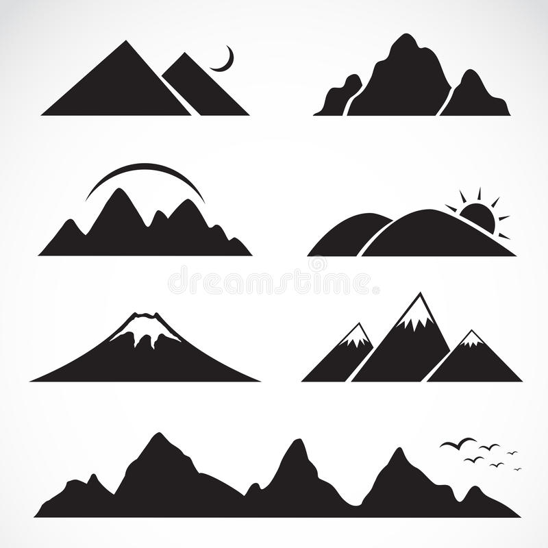 Grupo de ícones da montanha ilustração royalty free