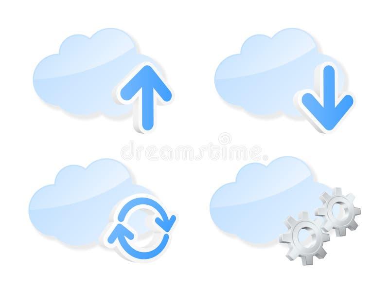 Grupo de ícones da nuvem ilustração stock