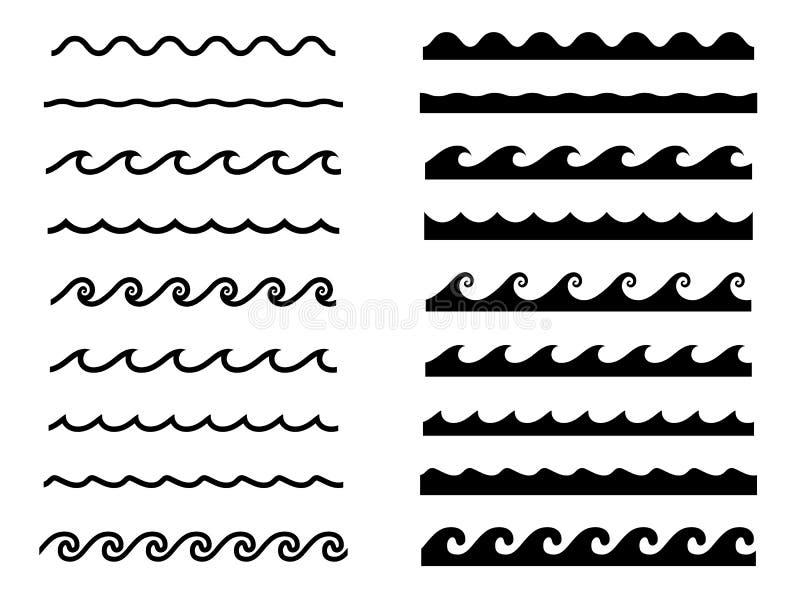 Grupo de ícones da onda de água, grupo sem emenda do teste padrão de onda imagens de stock royalty free