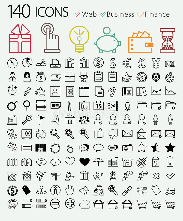 Grupo de ícones da Web 140, da finança e do negócio. ilustração do vetor