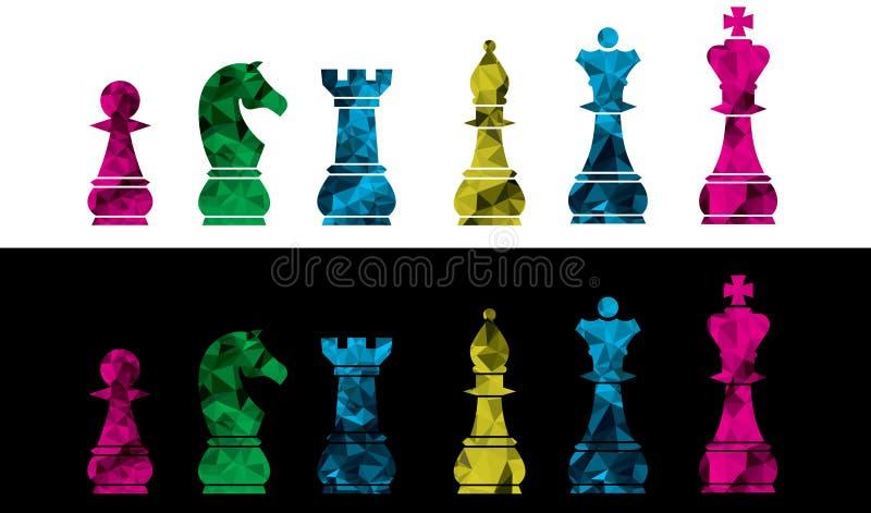 Grupo de ícones da xadrez do vetor Isolado no fundo preto e branco Ilustração colorida do vetor das partes de xadrez ilustração royalty free