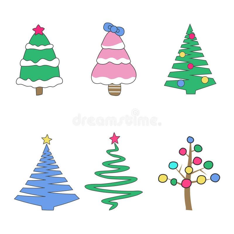 Grupo de ícones das árvores de Natal Símbolo preto dos diversos abeto, isolado no fundo branco Projeto simples ilustração stock