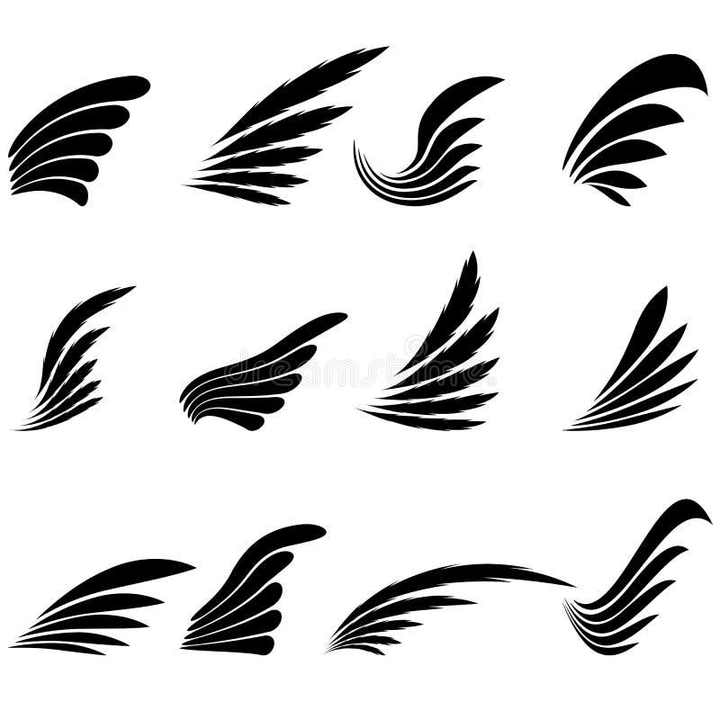 Grupo de ícones das asas isolados no fundo branco ilustração stock