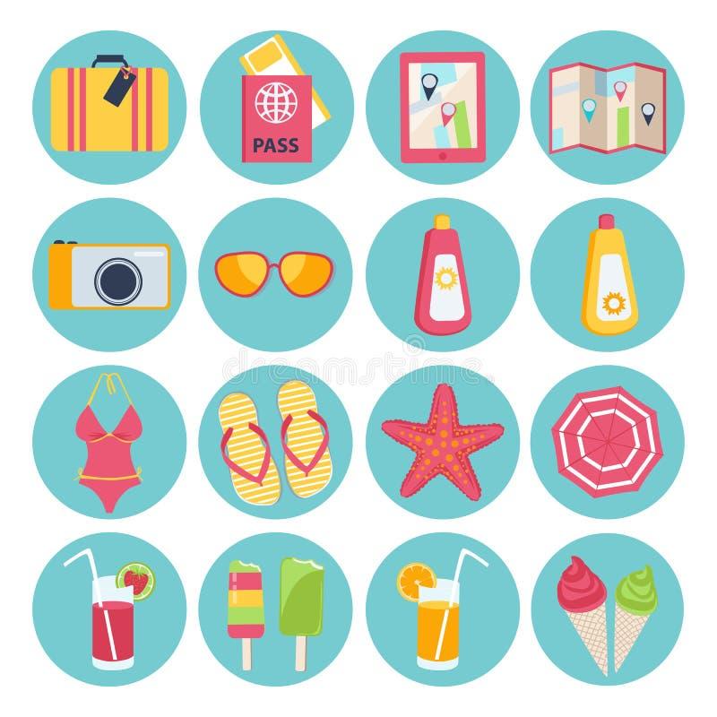 Grupo de ícones das férias de verão ilustração royalty free